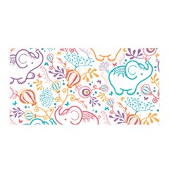 Cute Pastel Tones Elephant Pattern Satin Wrap by Dushan