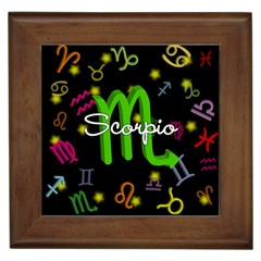 Scorpio Floating Zodiac Name Framed Tiles by theimagezone