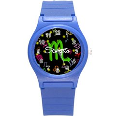 Scorpio Floating Zodiac Name Round Plastic Sport Watch (s) by theimagezone