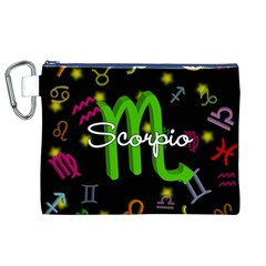 Scorpio Floating Zodiac Name Canvas Cosmetic Bag (xl)  by theimagezone
