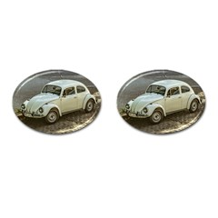 Classic Beetle Car Parked On Street Cufflinks (oval) by dflcprints
