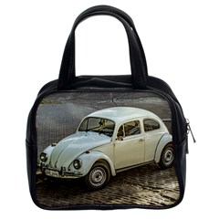 Classic Beetle Car Parked On Street Classic Handbags (2 Sides) by dflcprints