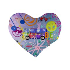 Summer Of Love   The 60s Standard 16  Premium Flano Heart Shape Cushions by MoreColorsinLife