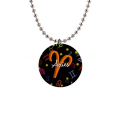 Aries Floating Zodiac Sign Button Necklaces by theimagezone