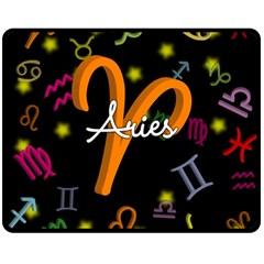 Aries Floating Zodiac Sign Double Sided Fleece Blanket (medium)  by theimagezone
