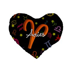 Aries Floating Zodiac Sign Standard 16  Premium Flano Heart Shape Cushions by theimagezone