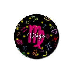 Virgo Floating Zodiac Sign Rubber Round Coaster (4 Pack)  by theimagezone