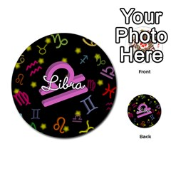 Libra Floating Zodiac Name Multi Purpose Cards (round)  by theimagezone