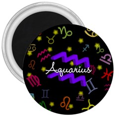 Aquarius Floating Zodiac Name 3  Magnets by theimagezone