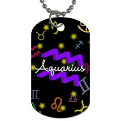 Aquarius Floating Zodiac Name Dog Tag (one Side) by theimagezone