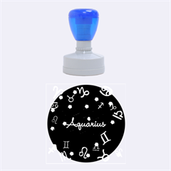 Aquarius Floating Zodiac Name Rubber Round Stamps (medium) by theimagezone