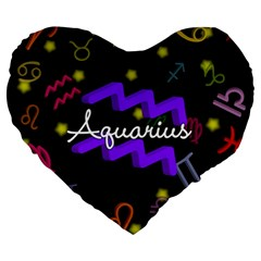 Aquarius Floating Zodiac Name Large 19  Premium Heart Shape Cushions by theimagezone