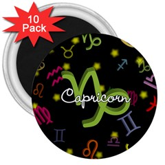 Capricorn Floating Zodiac Name 3  Magnets (10 Pack)  by theimagezone