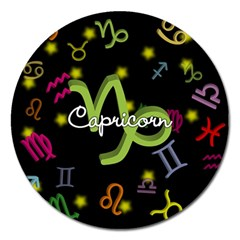Capricorn Floating Zodiac Name Magnet 5  (round) by theimagezone