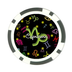 Capricorn Floating Zodiac Name Poker Chip Card Guards by theimagezone