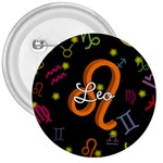 Leo Floating Zodiac Name 3  Buttons