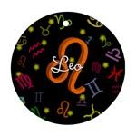Leo Floating Zodiac Name Ornament (Round)
