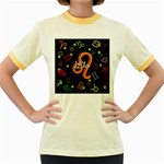Leo Floating Zodiac Name Women s Fitted Ringer T-Shirts