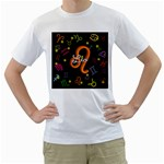 Leo Floating Zodiac Name Men s T-Shirt (White) (Two Sided)