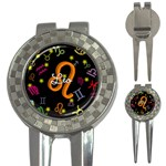 Leo Floating Zodiac Name 3-in-1 Golf Divots