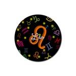 Leo Floating Zodiac Name Rubber Coaster (Round)
