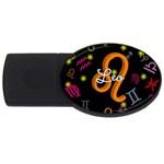 Leo Floating Zodiac Name USB Flash Drive Oval (4 GB)