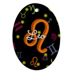 Leo Floating Zodiac Name Oval Ornament (Two Sides)