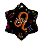 Leo Floating Zodiac Name Ornament (Snowflake)