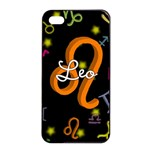 Leo Floating Zodiac Name Apple iPhone 4/4s Seamless Case (Black)