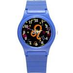 Leo Floating Zodiac Name Round Plastic Sport Watch (S)