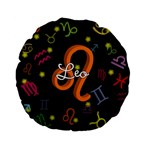 Leo Floating Zodiac Name Standard 15  Premium Flano Round Cushions