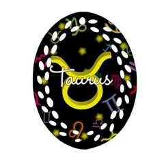 Taurus Floating Zodiac Name Oval Filigree Ornament (2 Side)  by theimagezone
