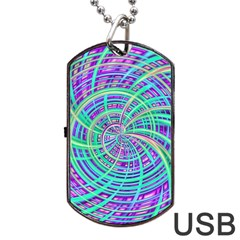 Happy Aqua Dog Tag USB Flash (Two Sides)  by MoreColorsinLife