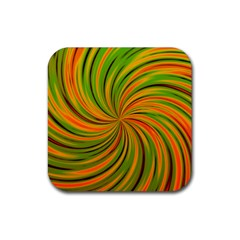 Happy Green Orange Rubber Square Coaster (4 Pack)  by MoreColorsinLife
