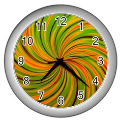 Happy Green Orange Wall Clocks (silver)  by MoreColorsinLife