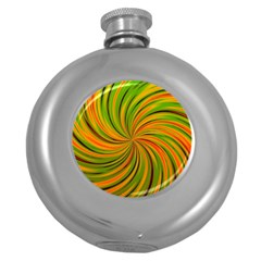 Happy Green Orange Round Hip Flask (5 oz) by MoreColorsinLife