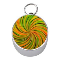 Happy Green Orange Mini Silver Compasses by MoreColorsinLife