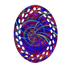 Happy Red Blue Oval Filigree Ornament (2 Side)  by MoreColorsinLife