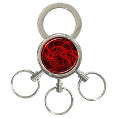 Happy, Black Red 3 Ring Key Chains by MoreColorsinLife