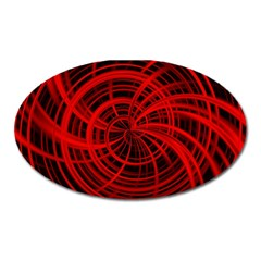 Happy, Black Red Oval Magnet by MoreColorsinLife