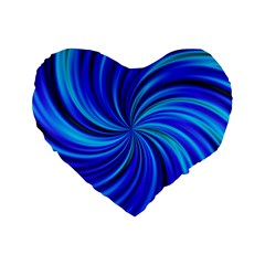 Happy, Blue Standard 16  Premium Flano Heart Shape Cushions by MoreColorsinLife