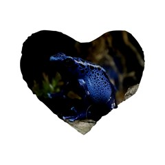 Blue Poison Arrow Frog Standard 16  Premium Heart Shape Cushions by stineshop