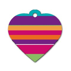 Jagged Stripes Dog Tag Heart (one Side) by LalyLauraFLM