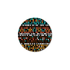 Squares Pattern In Retro Colors Golf Ball Marker (4 Pack) by LalyLauraFLM
