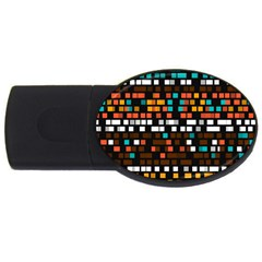 Squares Pattern In Retro Colors Usb Flash Drive Oval (2 Gb) by LalyLauraFLM