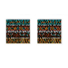 Squares Pattern In Retro Colors Cufflinks (square) by LalyLauraFLM