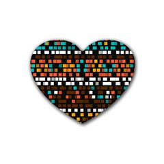 Squares Pattern In Retro Colors Rubber Coaster (heart) by LalyLauraFLM