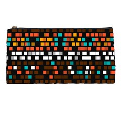 Squares Pattern In Retro Colors Pencil Case by LalyLauraFLM