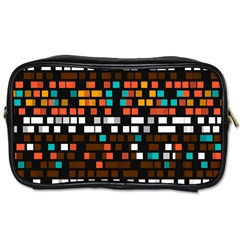 Squares Pattern In Retro Colors Toiletries Bag (one Side) by LalyLauraFLM
