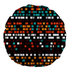 Squares Pattern In Retro Colors Large 18  Premium Round Cushion  by LalyLauraFLM
